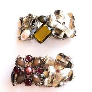 Two magnetic floral and gemstone bracelets